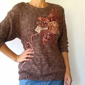 Vintage • brown popcorn knit cozy sweater